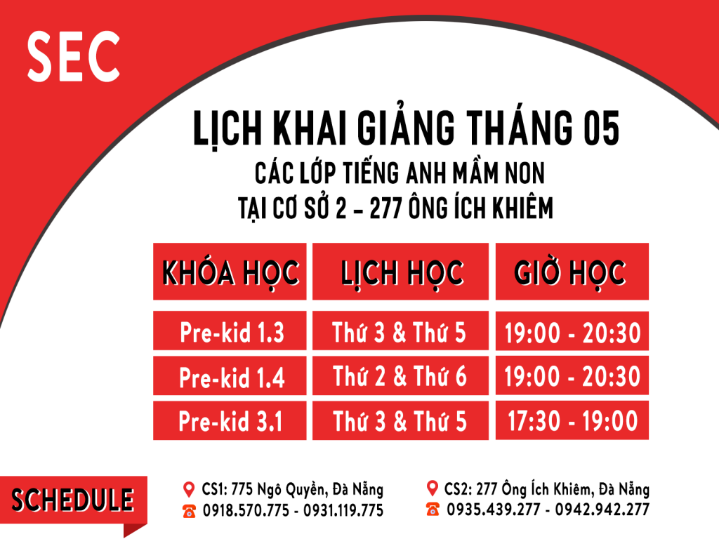 Lịch khai giảng tiếng Anh mầm non